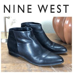 Nine West Black Leather & Suede Flat Ankle Boots